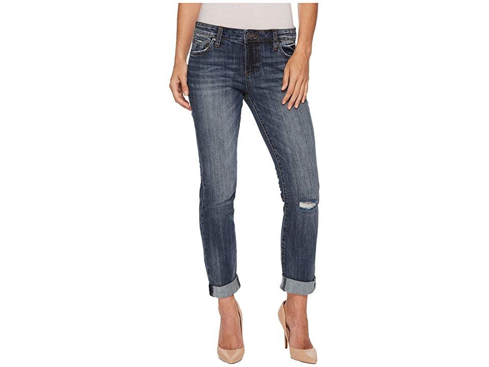 KUT from the Kloth Catherine Boyfriend Jeans in Uncommon UncommonMedium Base Wash Womens Jeans Comfortable stylish denim for laidback wear Boyfriend jean features a mid r...