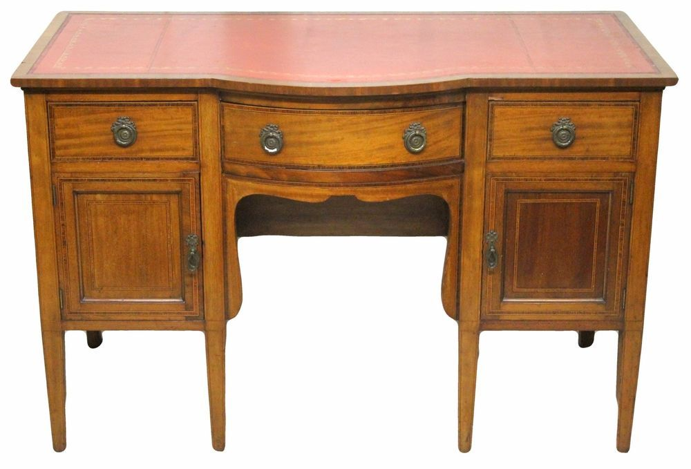 Edwardian Antique Mahogany Desk with Tooled Red Leather Lined Top in  Antiques, Antique Furniture, Desks   eBay - Edwardian Antique Mahogany Desk With Tooled Red Leather Lined Top In