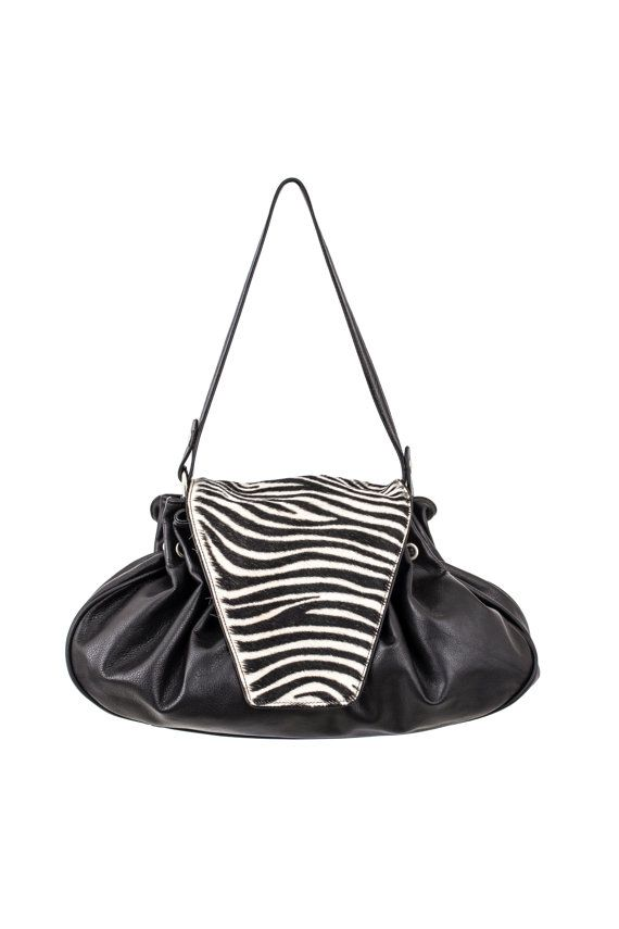 Bag Leather Handbag for woman with flap made in France Black color ... 8969ccdeefa