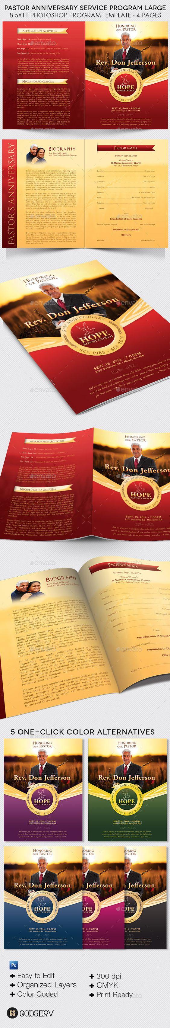pastor anniversary service program large template graphic design
