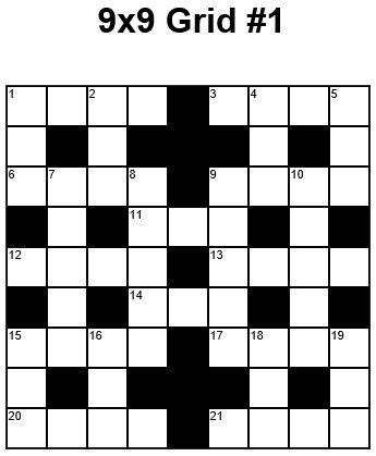 9X9 Easy Crossword Puzzle Grid 1 Puzzle 1 | Kidos | Pinterest
