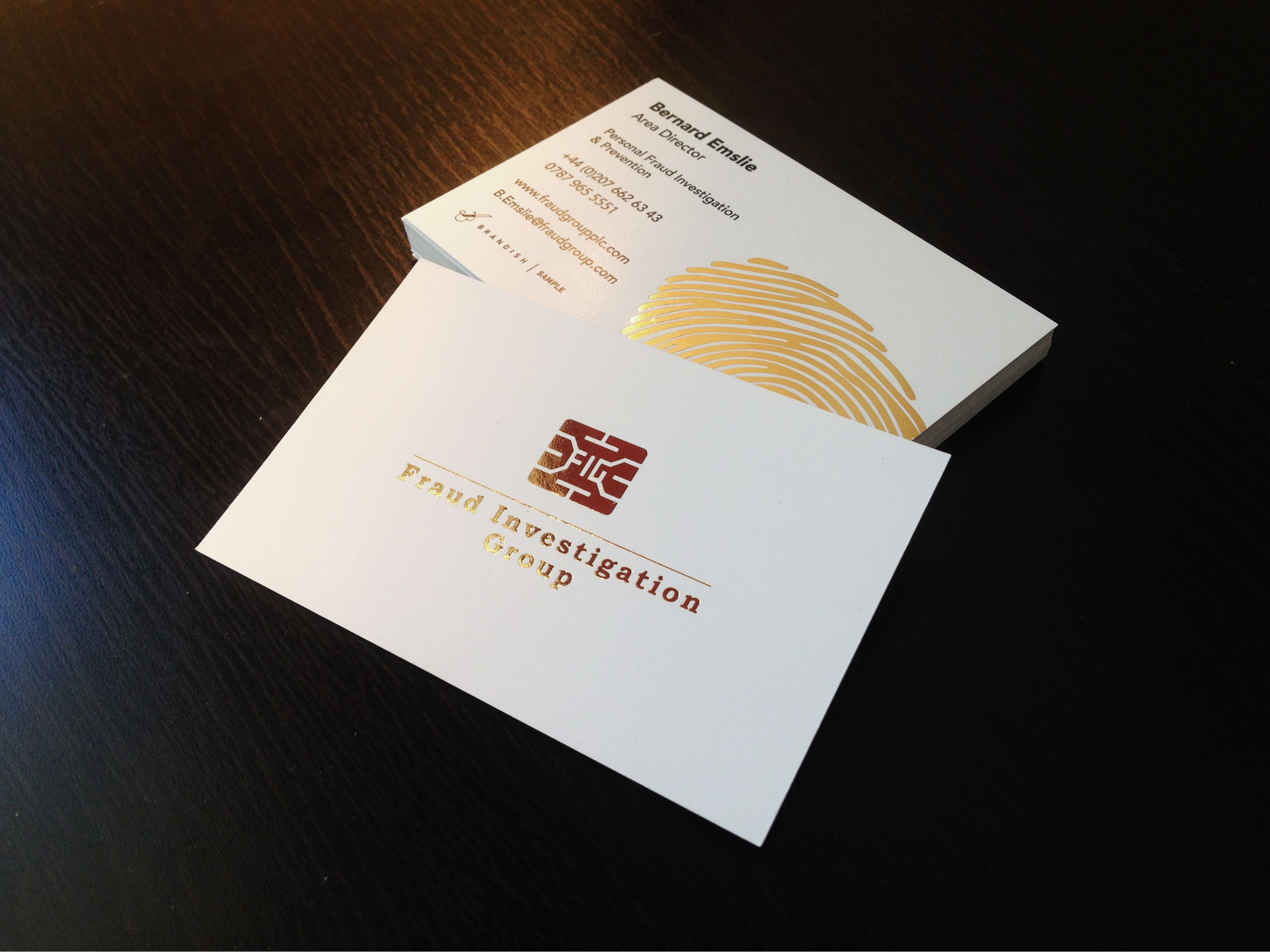 Bespoke gold foil business cards for \'The Fraud Investigation Group ...