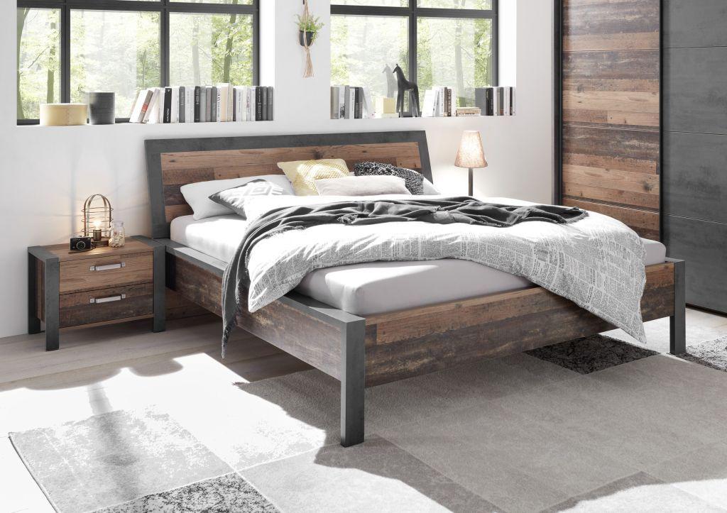 Doppelbett 180 X 200 Cm Michel Old Style Dunkel Betonoxid
