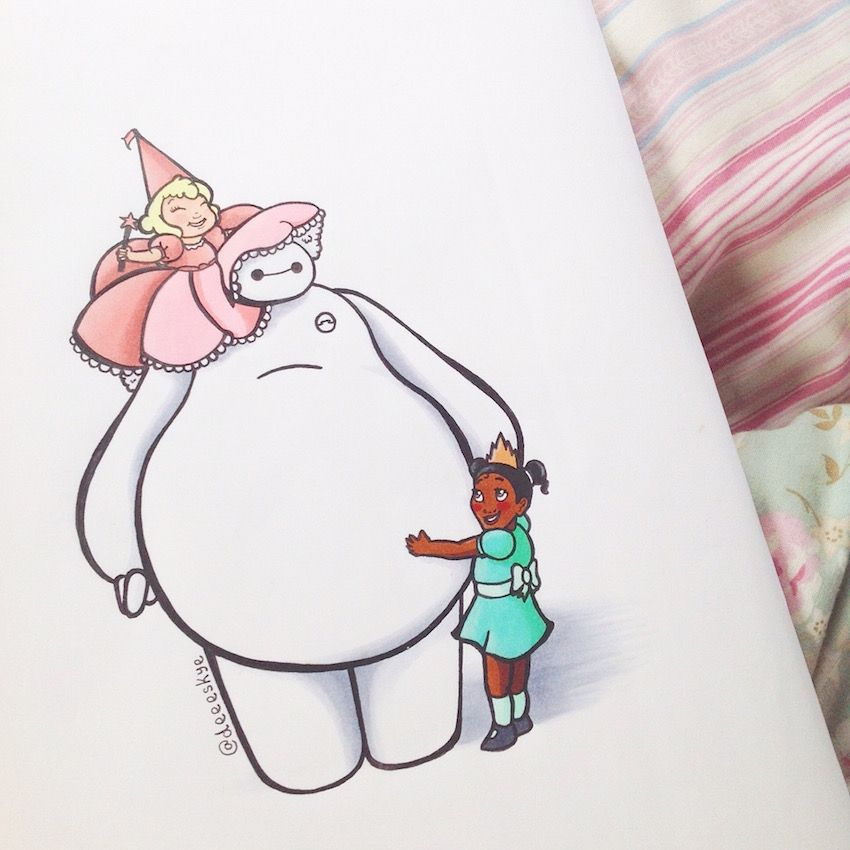 This Instagram Artist Drew Baymax From Big Hero In Other - Baymax imagined famous disney characters