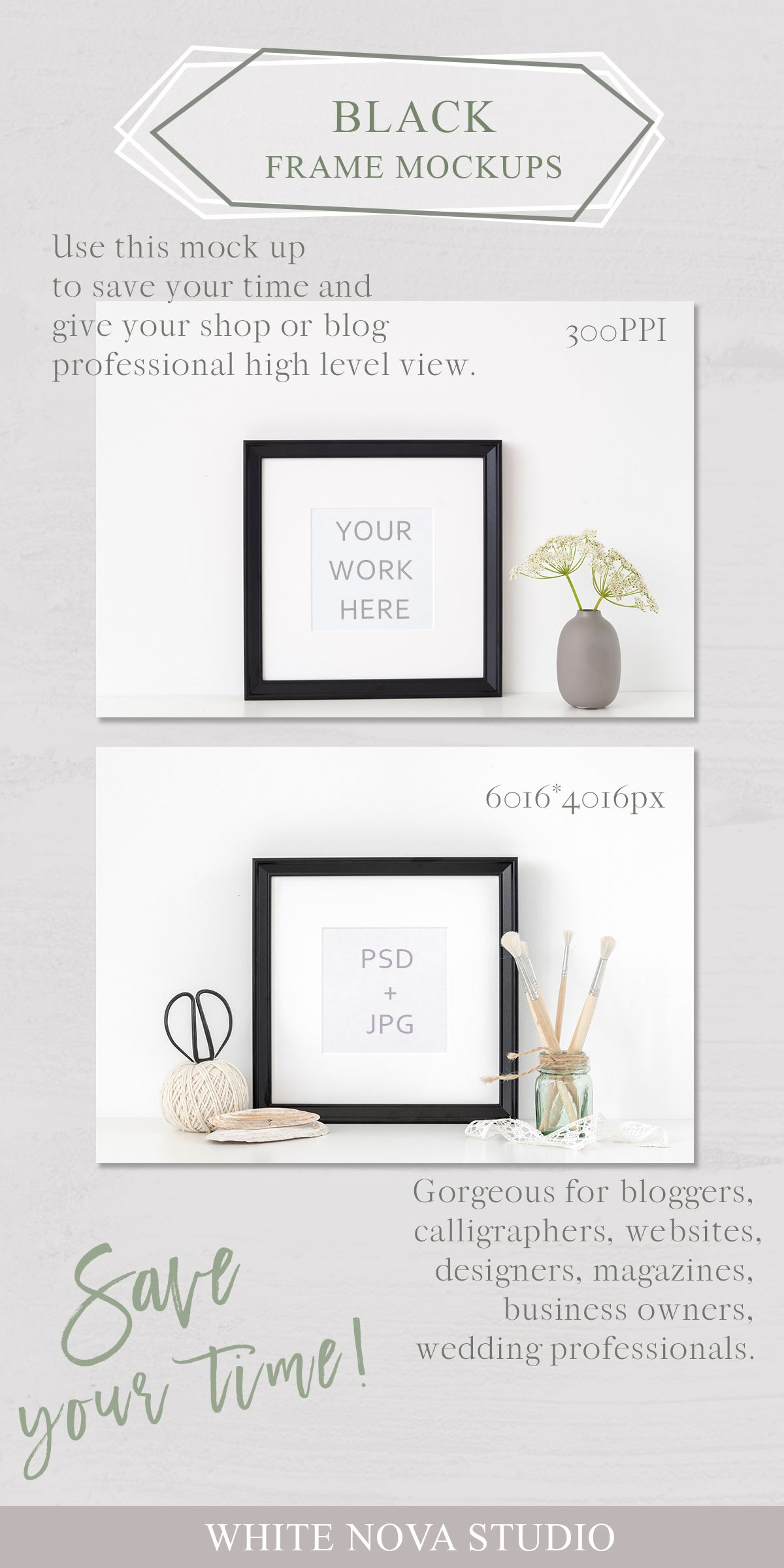 04ea0a4cf185 Black portrait frame mockup   Styled Stock Photo   Mockups by  WhiteNovaStudio   poster mock up with smart object in PSD