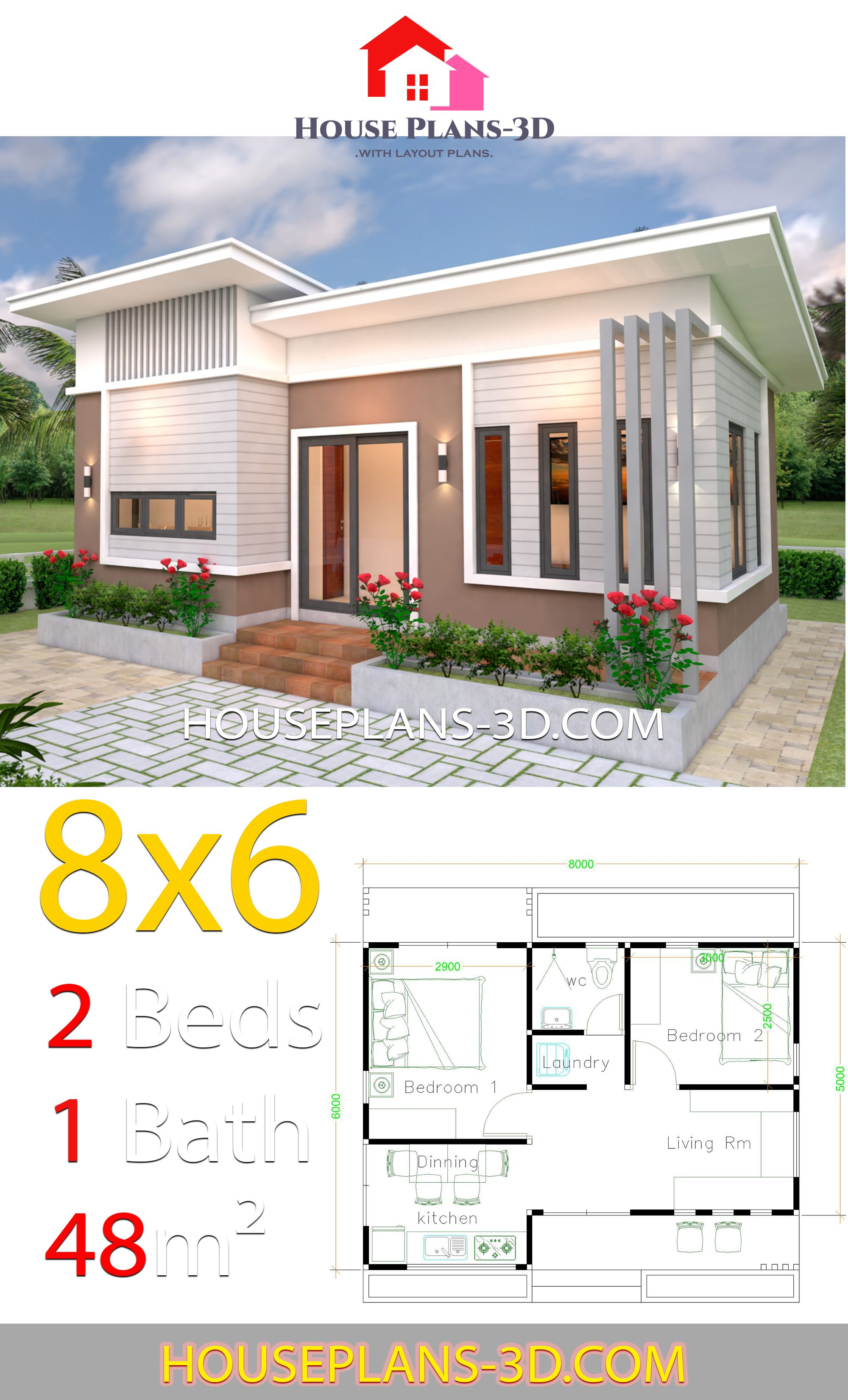 House Plans 8x6 With 2 Bedrooms Slope Roof House Plans 3d In 2020 House Plans Simple House Plans One Bedroom House