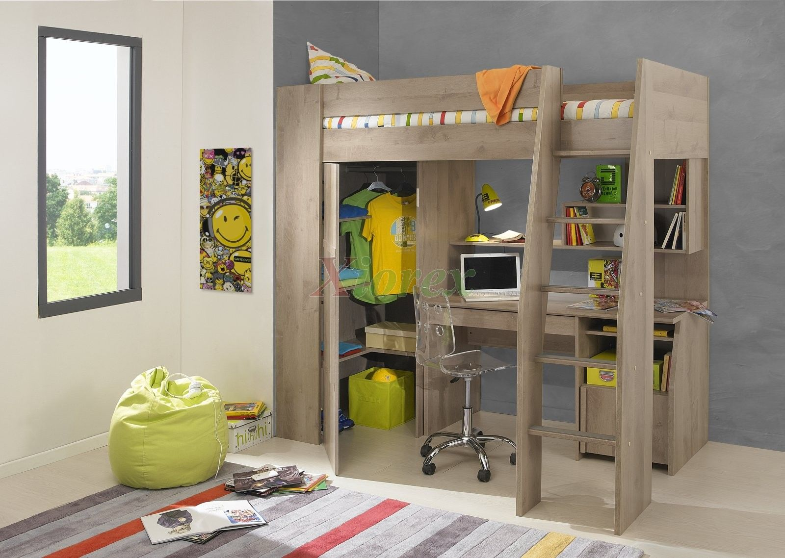 timber kids loft bunk beds with desk closet | gautier gami