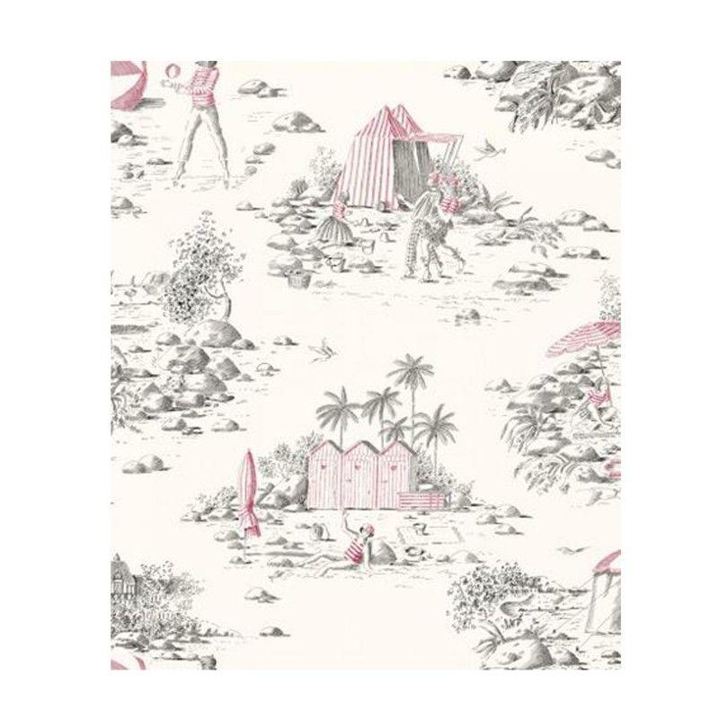 rideau pr t poser toile de jouy rouge tissu deauville. Black Bedroom Furniture Sets. Home Design Ideas