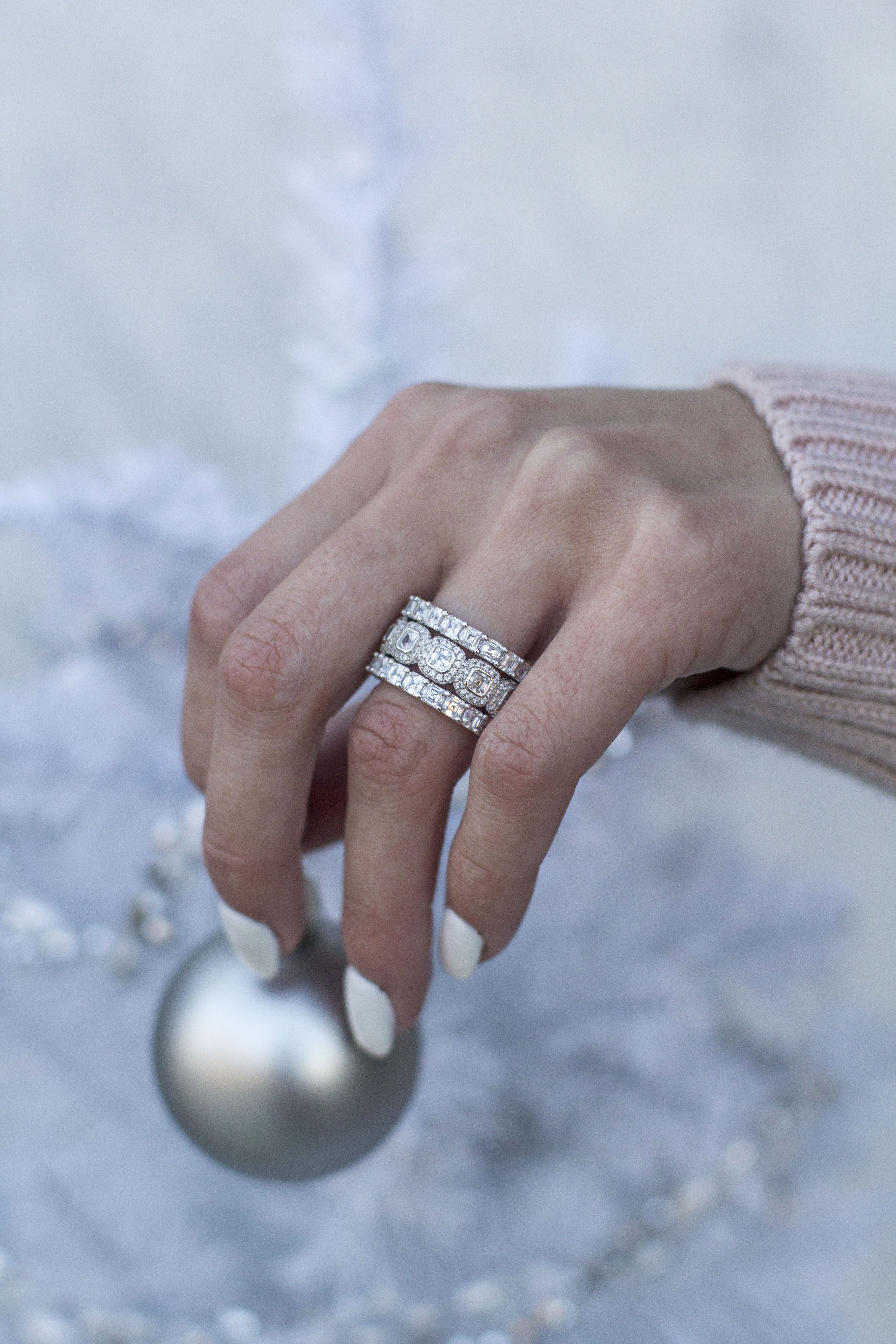 e9a99201384be 3 for $150 simulated diamond ring stacks from #EverlyRings. Shown ...
