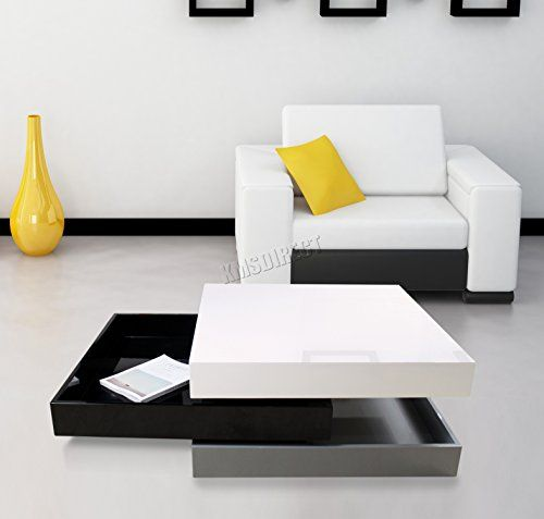 Style Of FoxHunter Modern Rotating Coffee Table 3 Layers Square Idea - Simple modern white coffee table Top Search