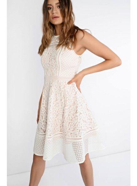 Glamorous White Lace Skater Dress