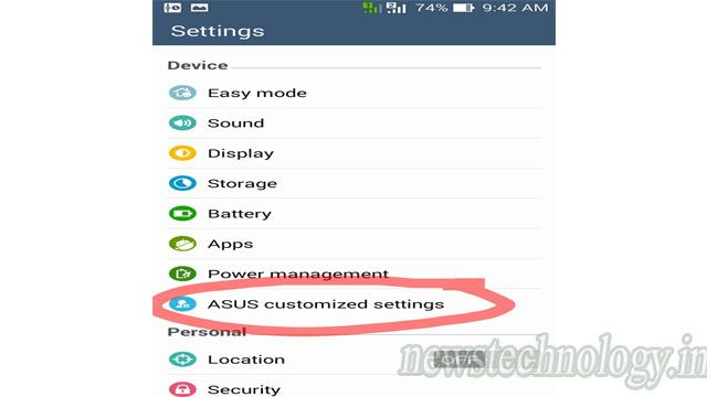 Step 1: Open Settings, select ASUS customized settings