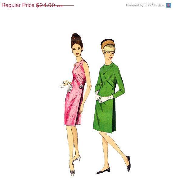 1960s Dress Pattern Vogue 7092 Wrap Front Surplice Seam Interest ...