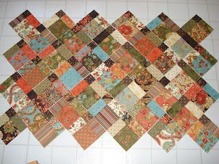 """Charm Square Quilt in 9 patch variation - (7"""" blocks) love it arranged on point!"""