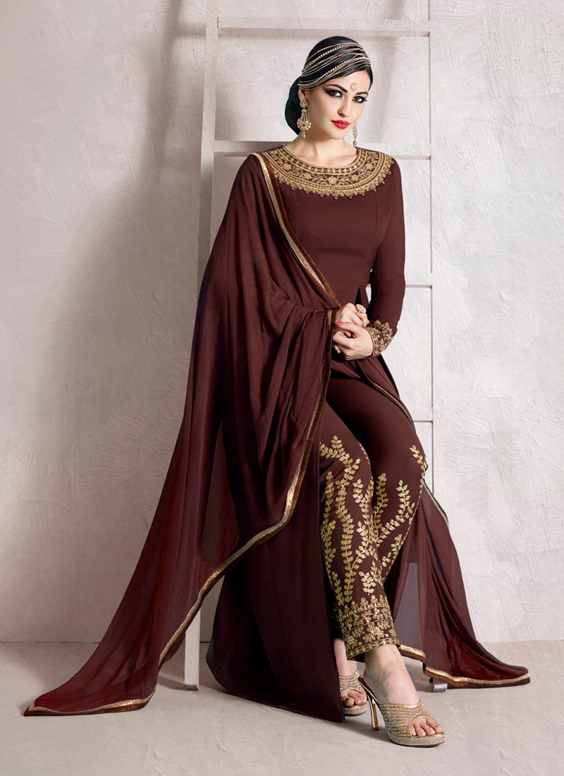 IMPECCABLE BROWN EMBROIDERED PARTY WEAR SUIT | Pants Style ...