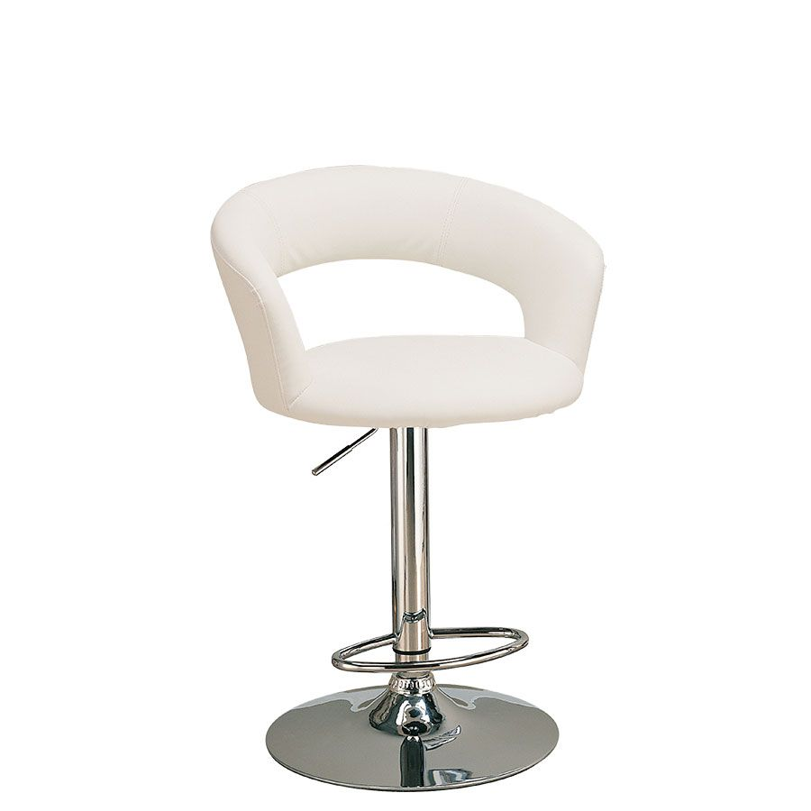 modern curved vanity chair with adjustable height in white  - modern curved vanity chair with adjustable height in white