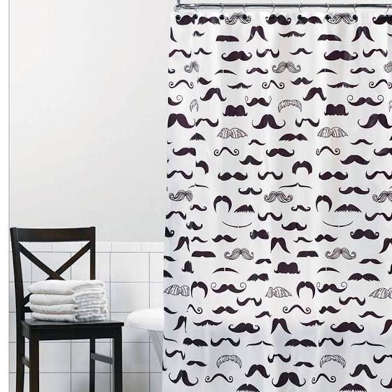 mustache shower curtain | Everything bathroom | Pinterest