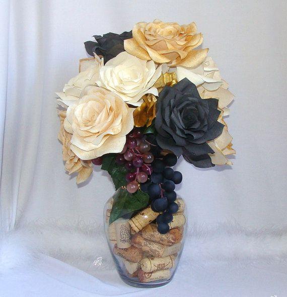 Wine Cork Wedding Decorations: Wine Themed Floral Arrangement Wine Cork Centerpiece By