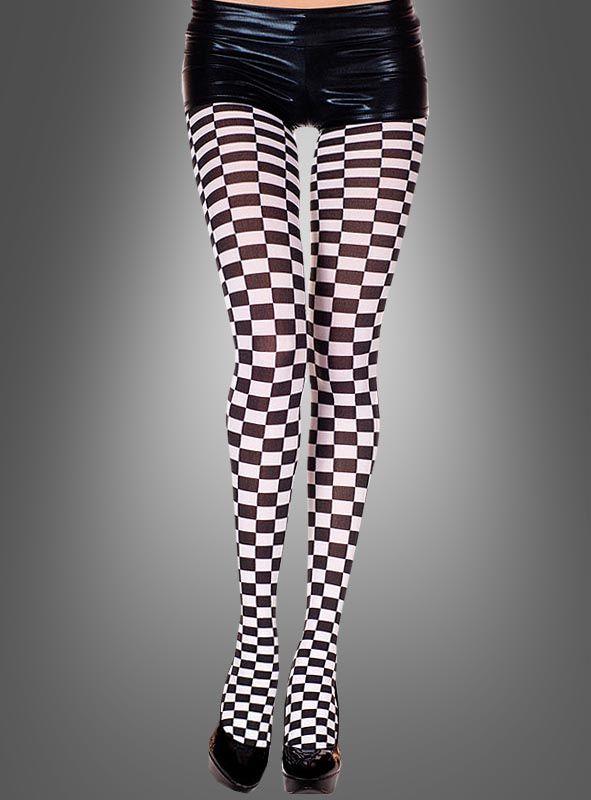 Damen Harlekin Leggings Schachbrett Muster Strumpfhose Leggins Schwarz-Weiß