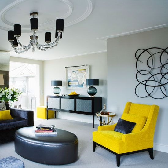 Modern Living Room With A Pop Of Color Love This Color Combo Yellow Living Room Living Room Inspiration Monochrome Living Room