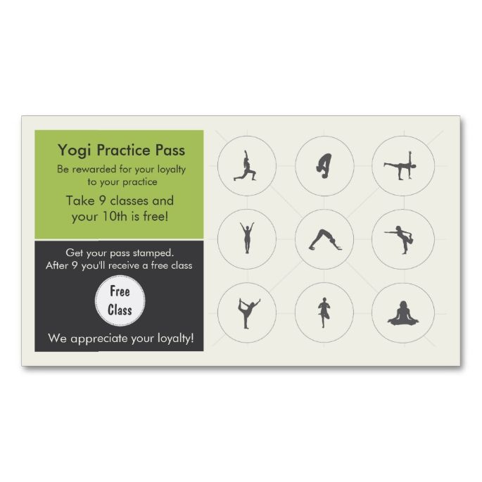 yoga class business card loyalty card i love this design it is available for customization or ready to buy as is all you need is to add your business