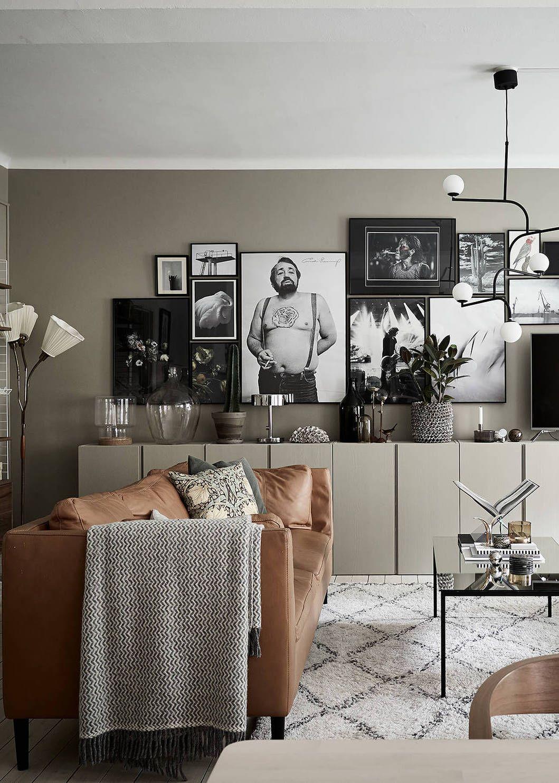 From green to beige | Wohnzimmer, Wohnzimmer kamin und Ledercouch