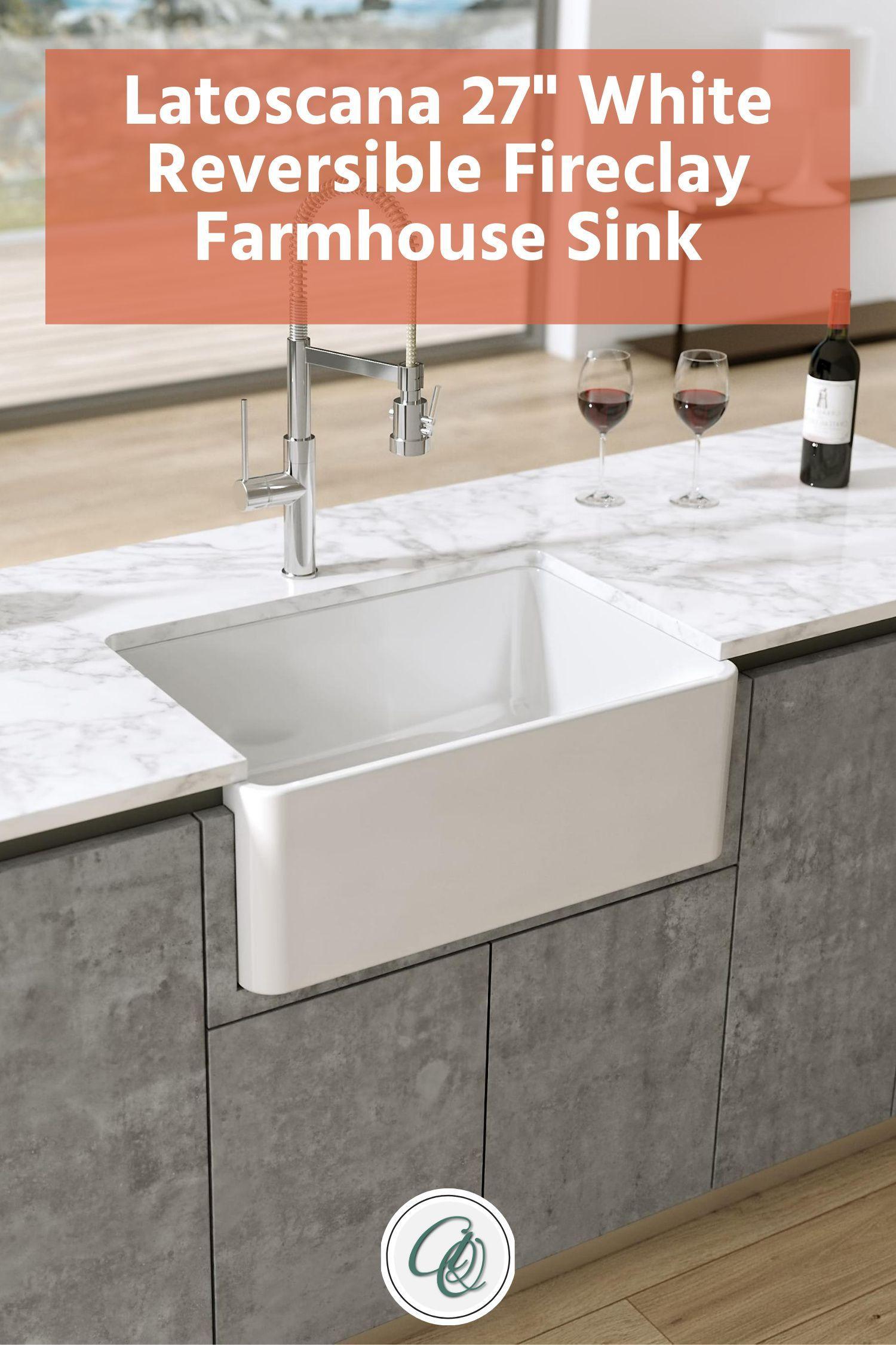 Latoscana Ltw2718w 27 White Fireclay Farmhouse Sink With Reversible Design Fireclay Farmhouse Sink Farmhouse Sink Sink