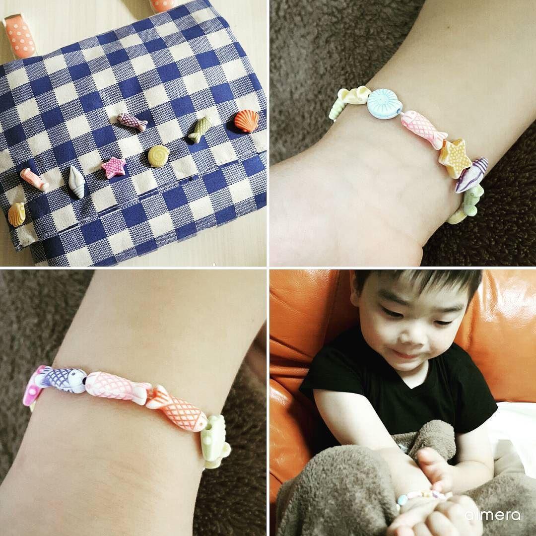 #ポケットポーチ #手作り #ビーズ #お魚 #ブレスレット #pocket #beads #fish #handmade #bleslet #kids #diy by hanna_makino