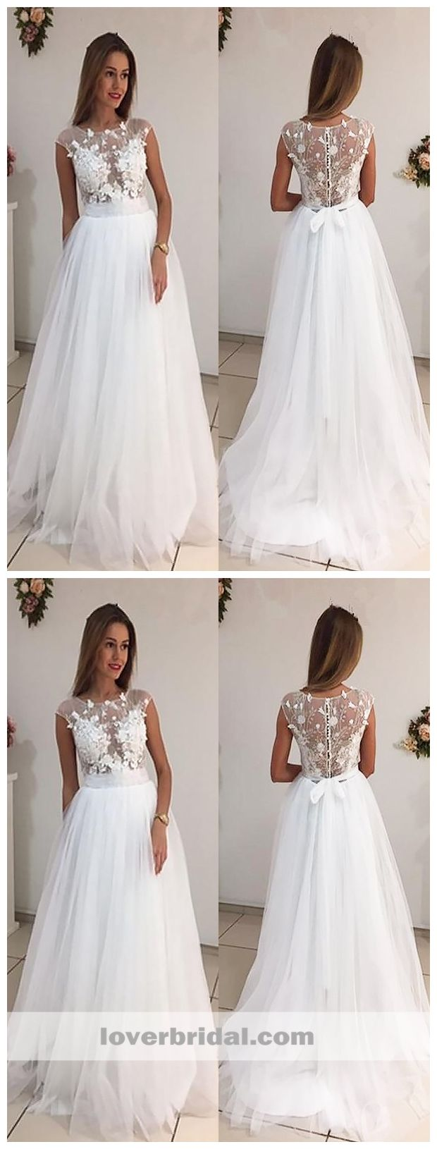 Lace cap sleeve a line wedding dress  Cap Sleeves Bateau Aline Wedding Dresses Online Cheap See Through