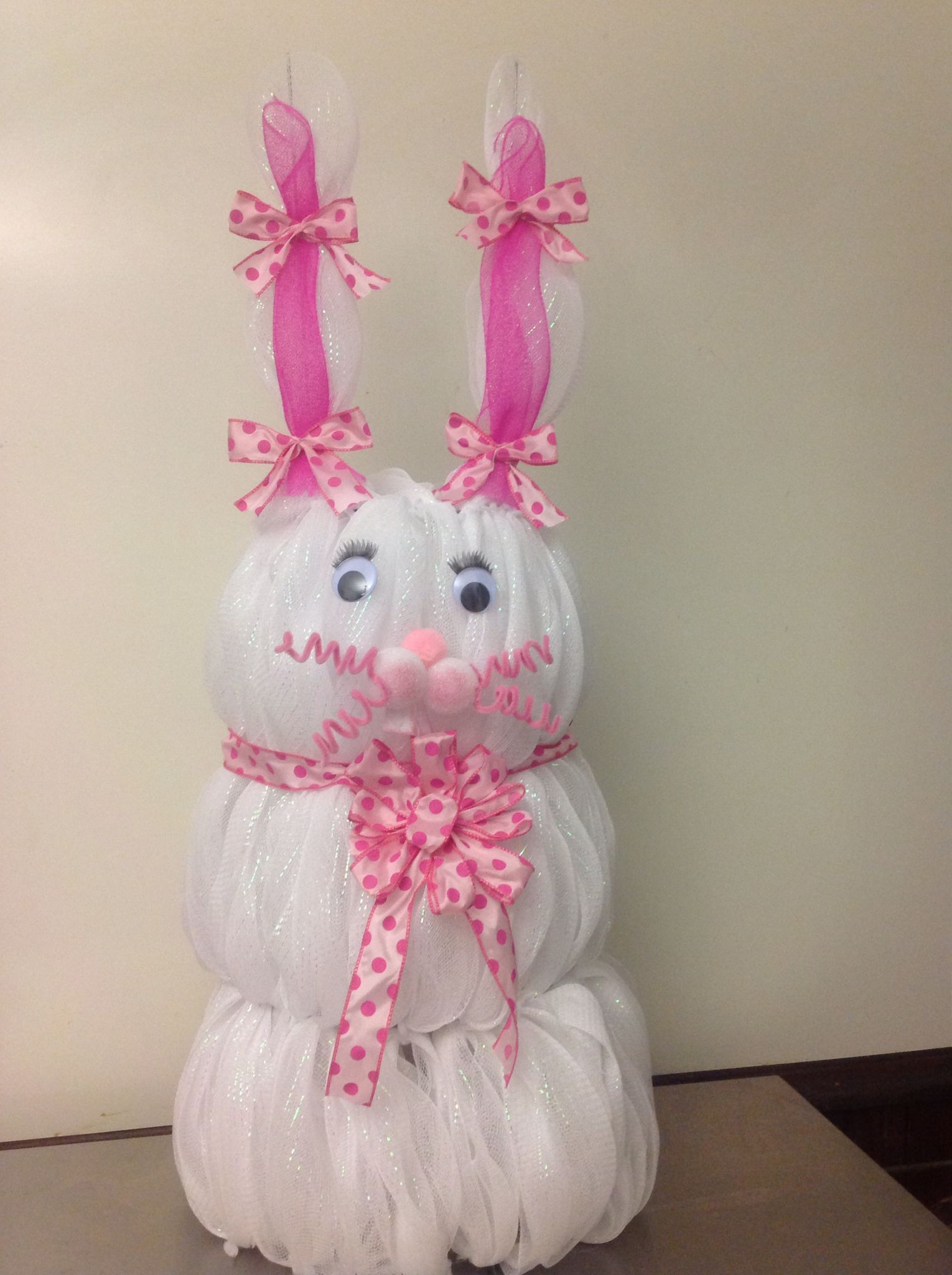 Tomato Cage Deco Mesh Easter Bunny