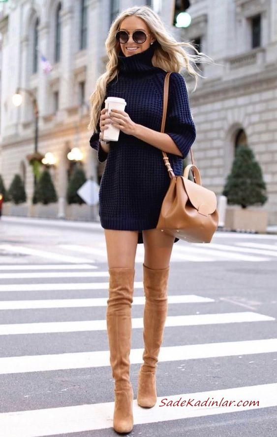 2020 2021 Kazak Elbise Kombinleri Vizon Mini Bogazli Elbise Beyaz Uzun Topuklu Cizme Siyah Omuz Cantasi 2020 Uzun Cizme Moda Stilleri Moda