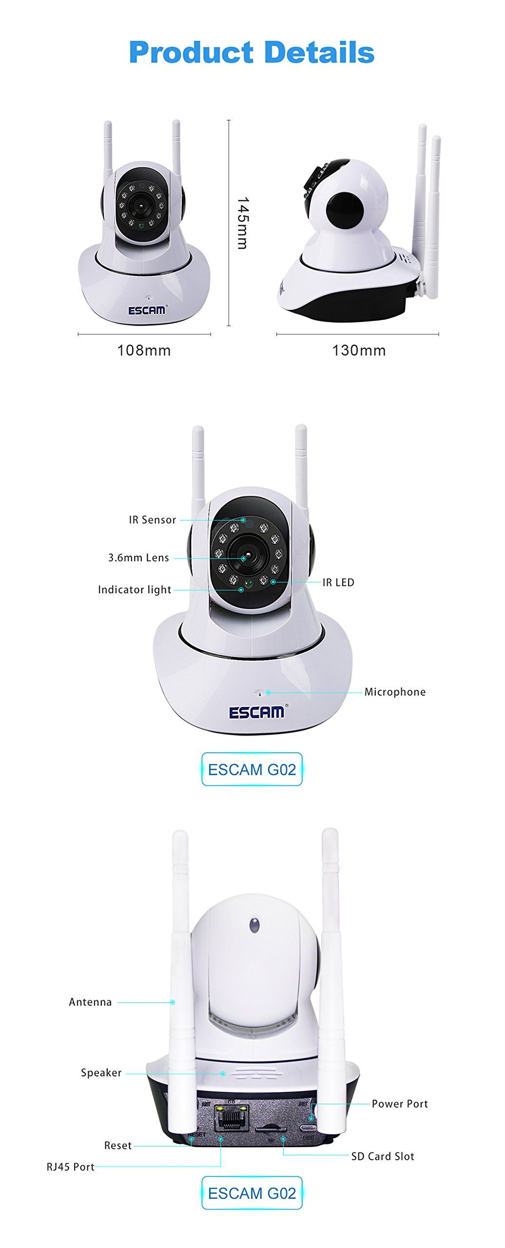 ESCAM IP Camera Wireless Security Camera Surveillance