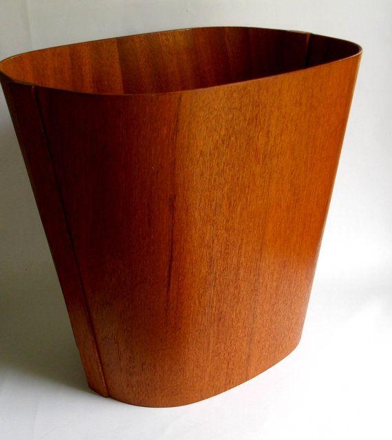 Danish Modern teak waste basket from Beni Mobler Denmark #MidCenturyFLA