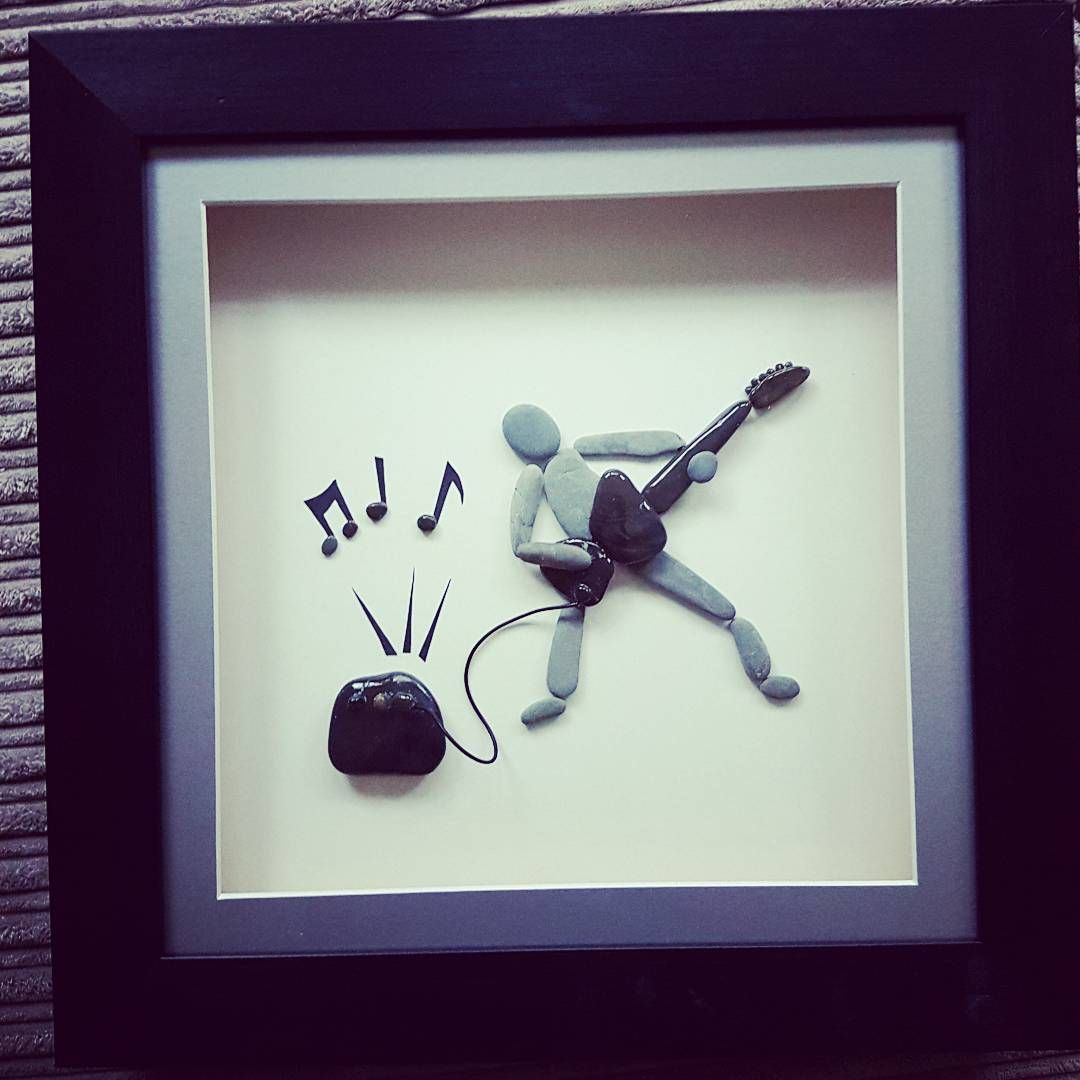 "22 Likes, 1 Comments - Ruth Rocks (@ruth_rocks2016) on Instagram: ""Being tested now with requests for all kind of pebbleart...loving the electric guitar man! #guitar…"""