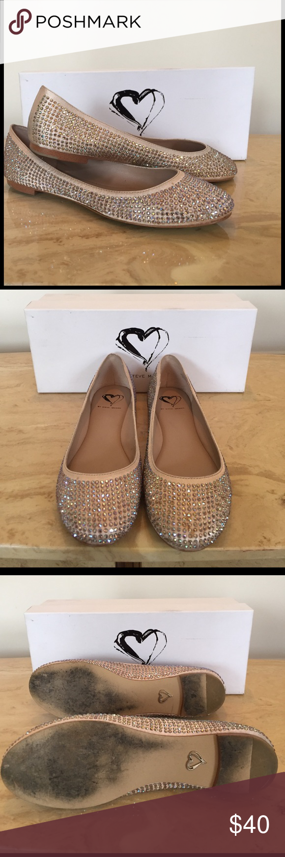 Steve Madden I-Dreemy Blush Bedazzled Flat Nude bedazzled flat by Steve Madden. All merchandise sold as-is. Steve Madden Shoes Flats & Loafers