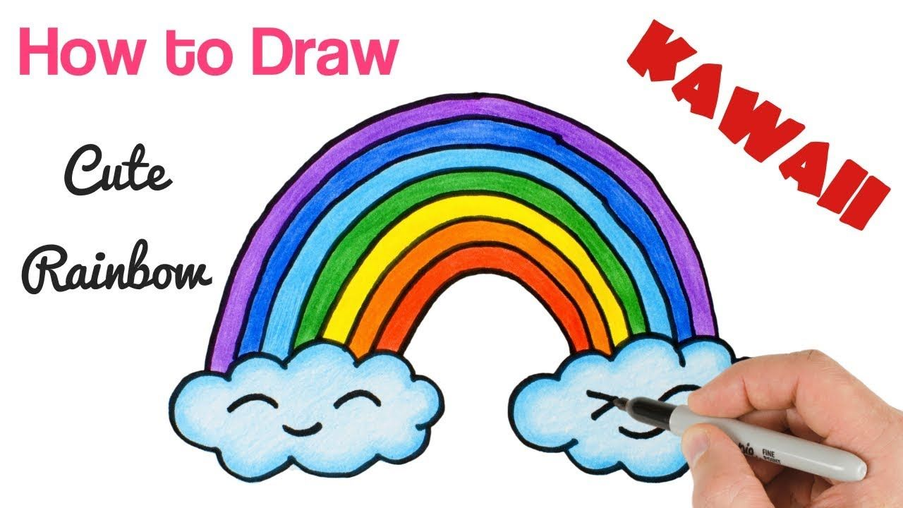 How To Draw A Rainbow And Clouds Easy Drawing And Coloring For