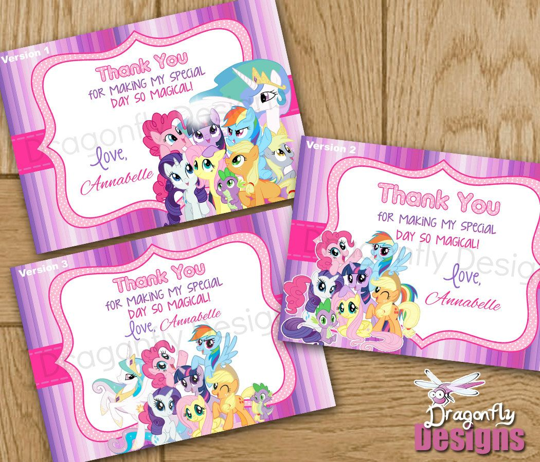 My Little Pony Friendship Is Magic Personalized Birthday Thank You Card Printable Digit Birthday Thank You Cards My Little Pony Party My Little Pony Birthday