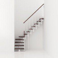 Escalier Modulaire Longline Marches Bois Structure Metal Blanc