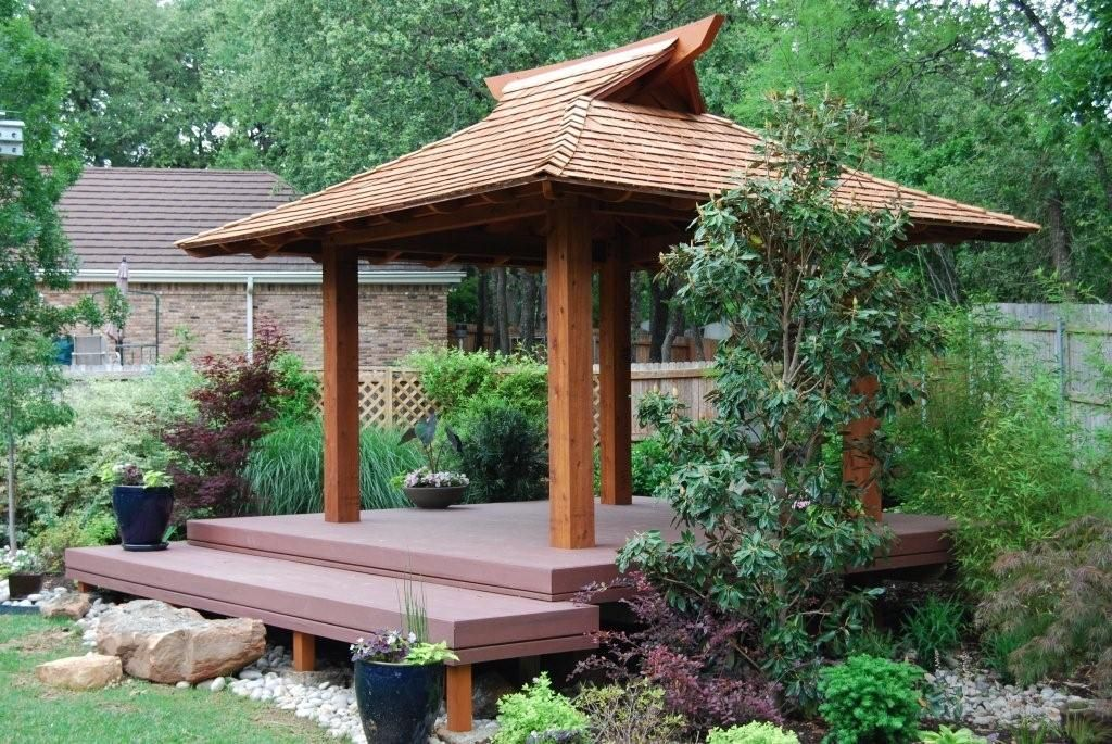 Backyard japanese azumaya tea house gazebo on elevated for Japanese tea garden design