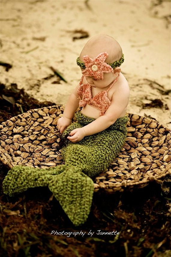 Photo prop. Toddler size Mermaid tail blanket with shell bra