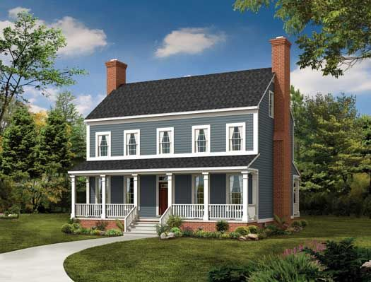 Colonial Style House Plans - 2203 Square Foot Home , 2 Story, 3 ...