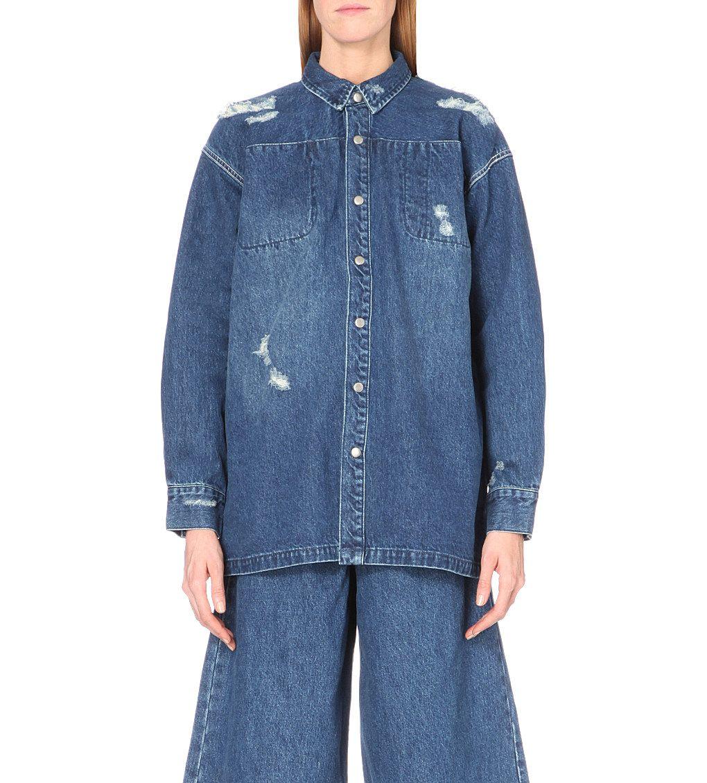 Workwear distressed denim jacket