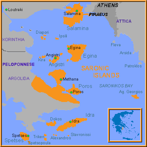 Poros Greece Map.Map Of Saronic Islands ღ Greece Saronic Islands Island