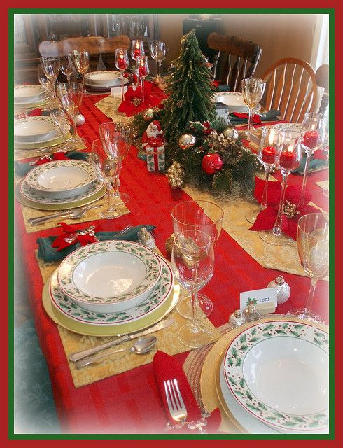 Christmas Table Setting  sc 1 st  Pinterest & Christmas Table Setting | tablescapes | Pinterest | Christmas ...