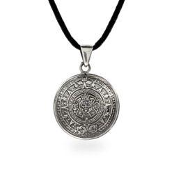 Sterling Silver Aztec Calendar Pendant 42