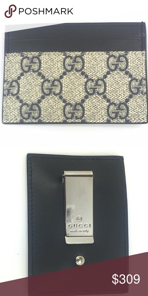 7cf06eb66fa5a2 Gucci GG Canvas/Leather Card Case Money Clip - Gucci GG Supreme over  Leather -