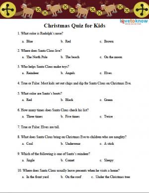 Free Christmas Quizzes Lovetoknow Christmas Quiz For Kids Christmas Trivia Questions Christmas Quizzes