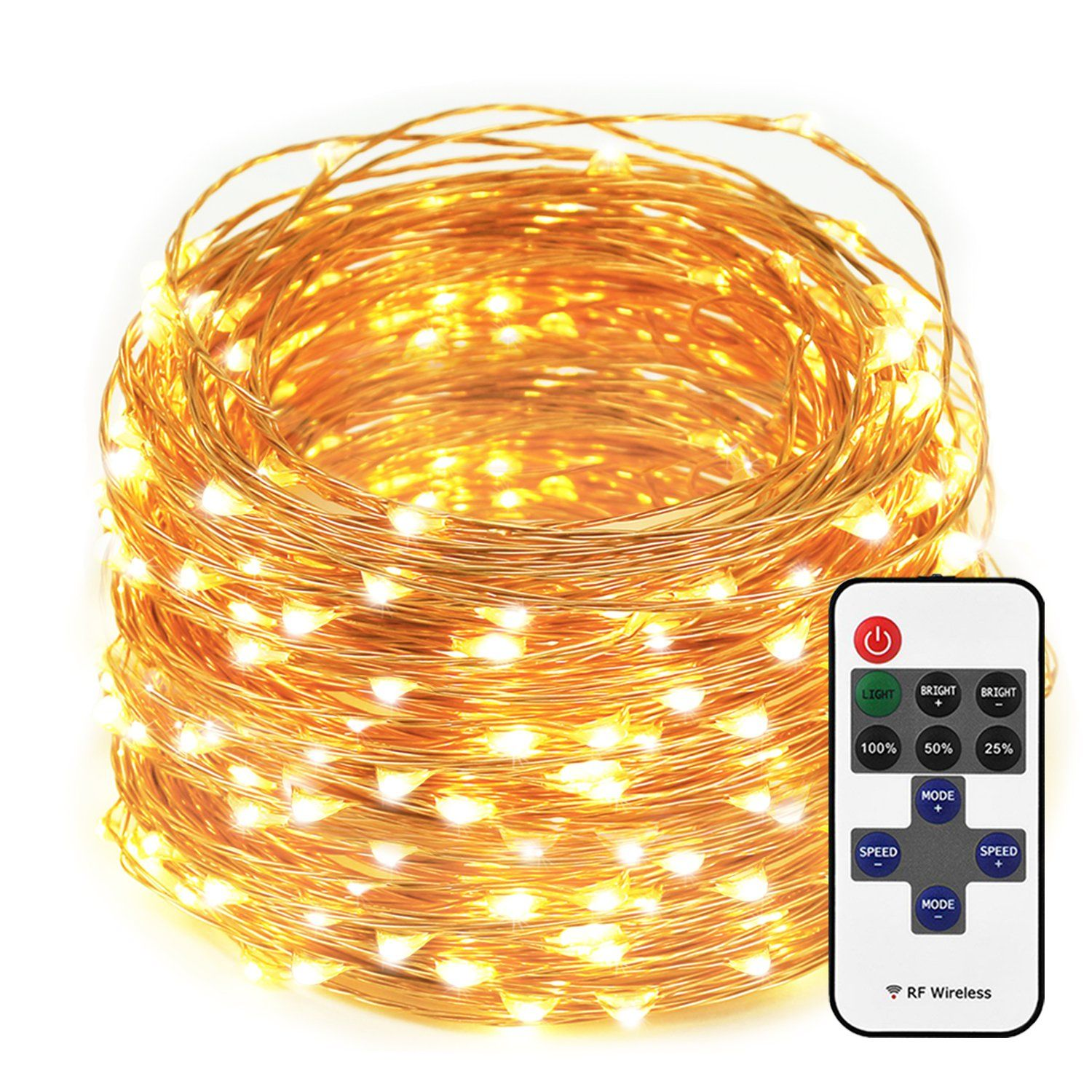 LED String Lights Dimmable with Remote Control, 66ft 200 LEDs ...