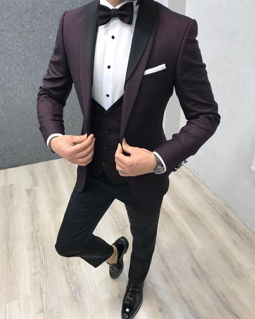 Hanayome Mens Modern Fit 3-Piece Suit Blazer Jacket Tux Vest /& Trousers Set U102