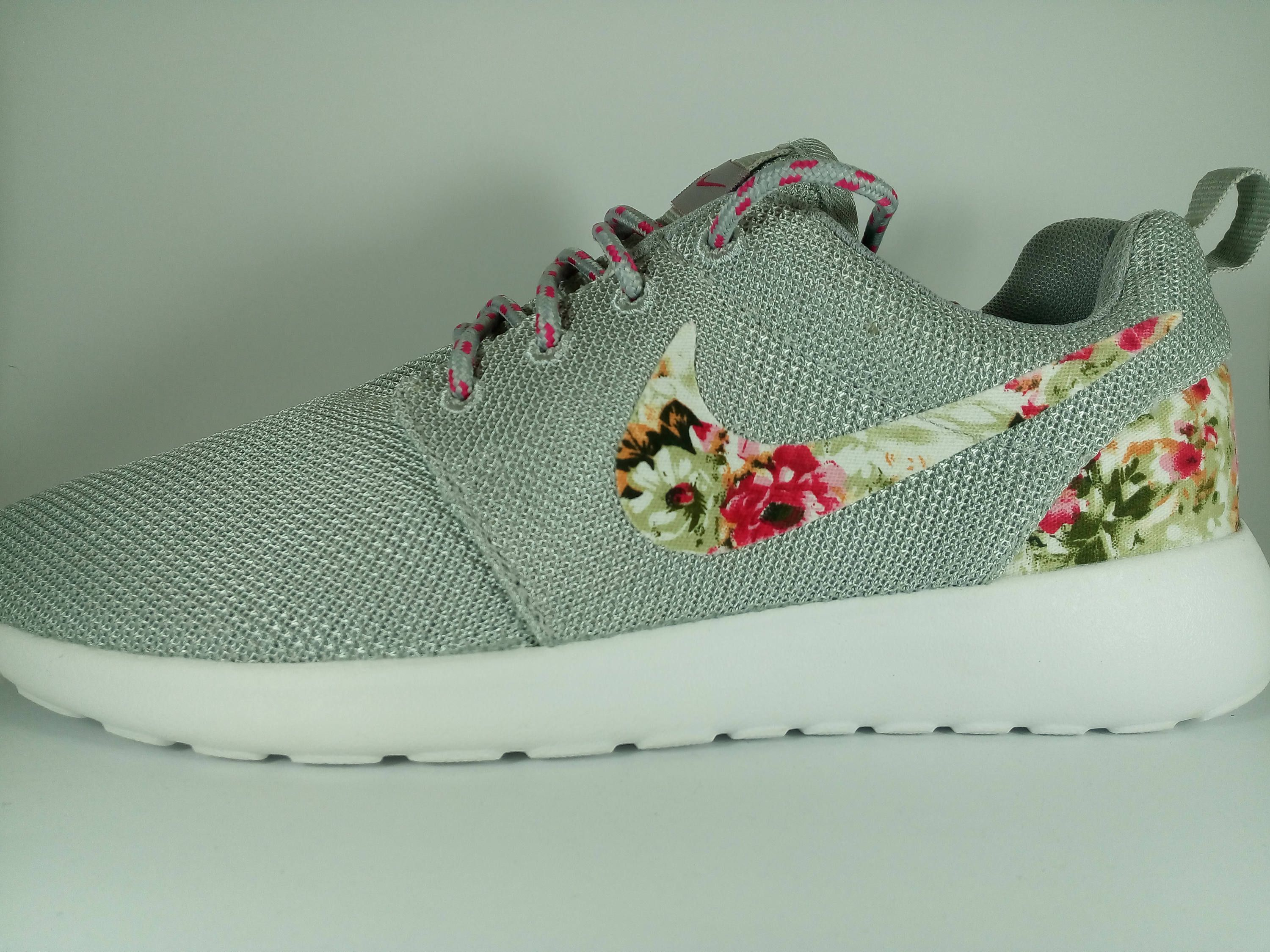 a9df5aa9b79f last pairs custom nike roshe run womens shoes gray color customized with  fabric floral athletic nike shoes with fabric flowers white sole by  JWLSTORE on ...